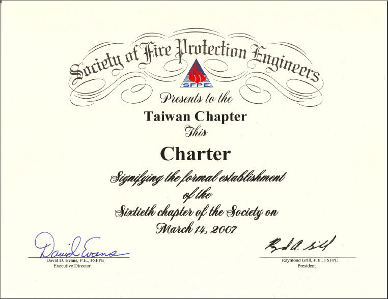 Taiwan Chapter 60 Certificate